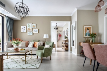 百合居装饰76平二居室美式风装修案例