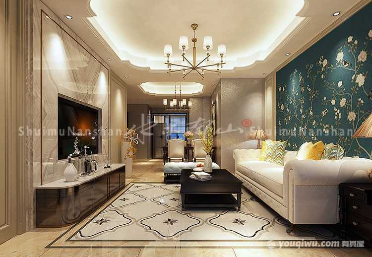 南山院120平米三居室美式风格装修效果图