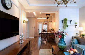 龙惠花园70㎡小两室轻美式风格装修效果图