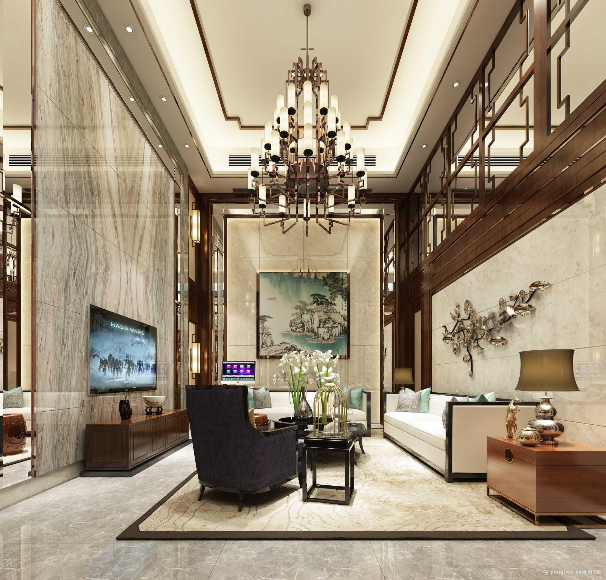 377平三室新中式风格装修效果图