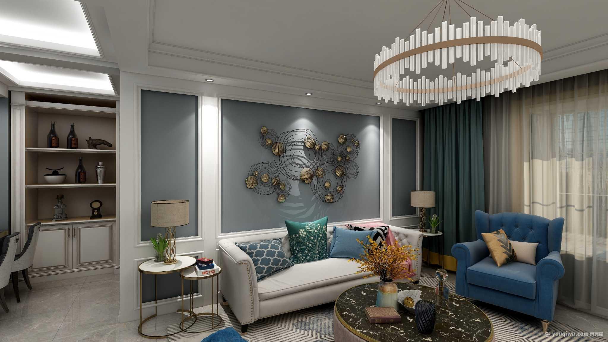 中央领域117平三室美式风格装修效果图