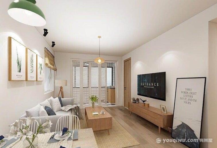 平安苑64平二居室北欧风格装修效果图