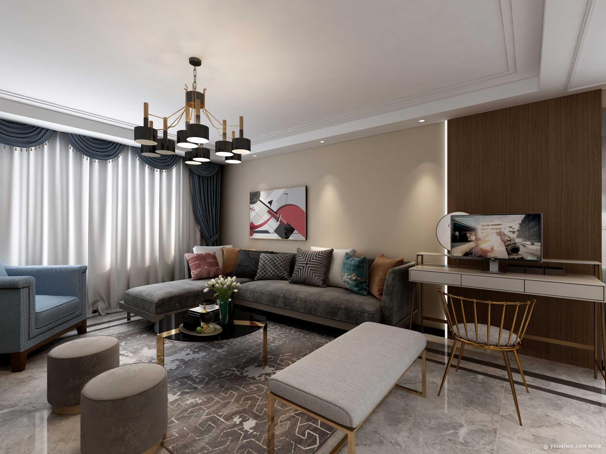 中宏香榭丽舍126平三室现代简约风格装修效果图