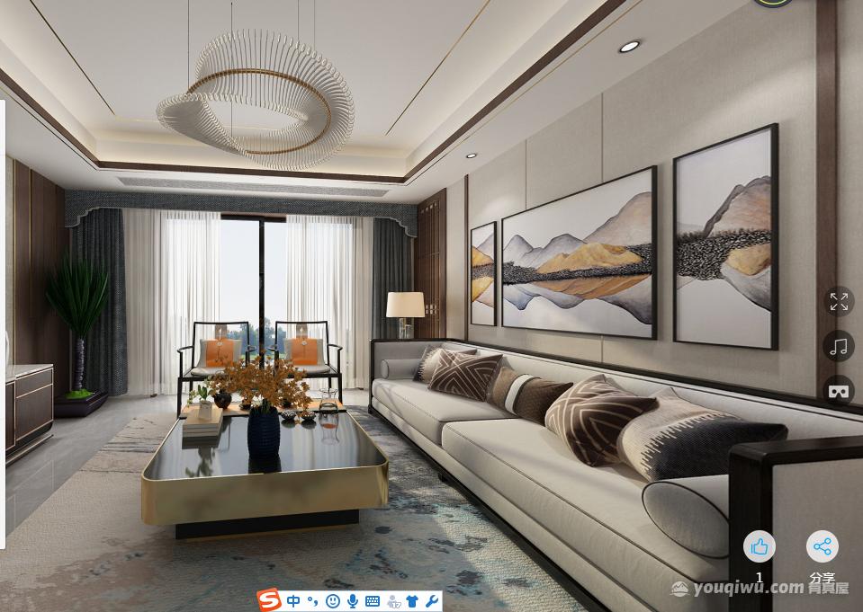中海220平新中式风格装修效果图
