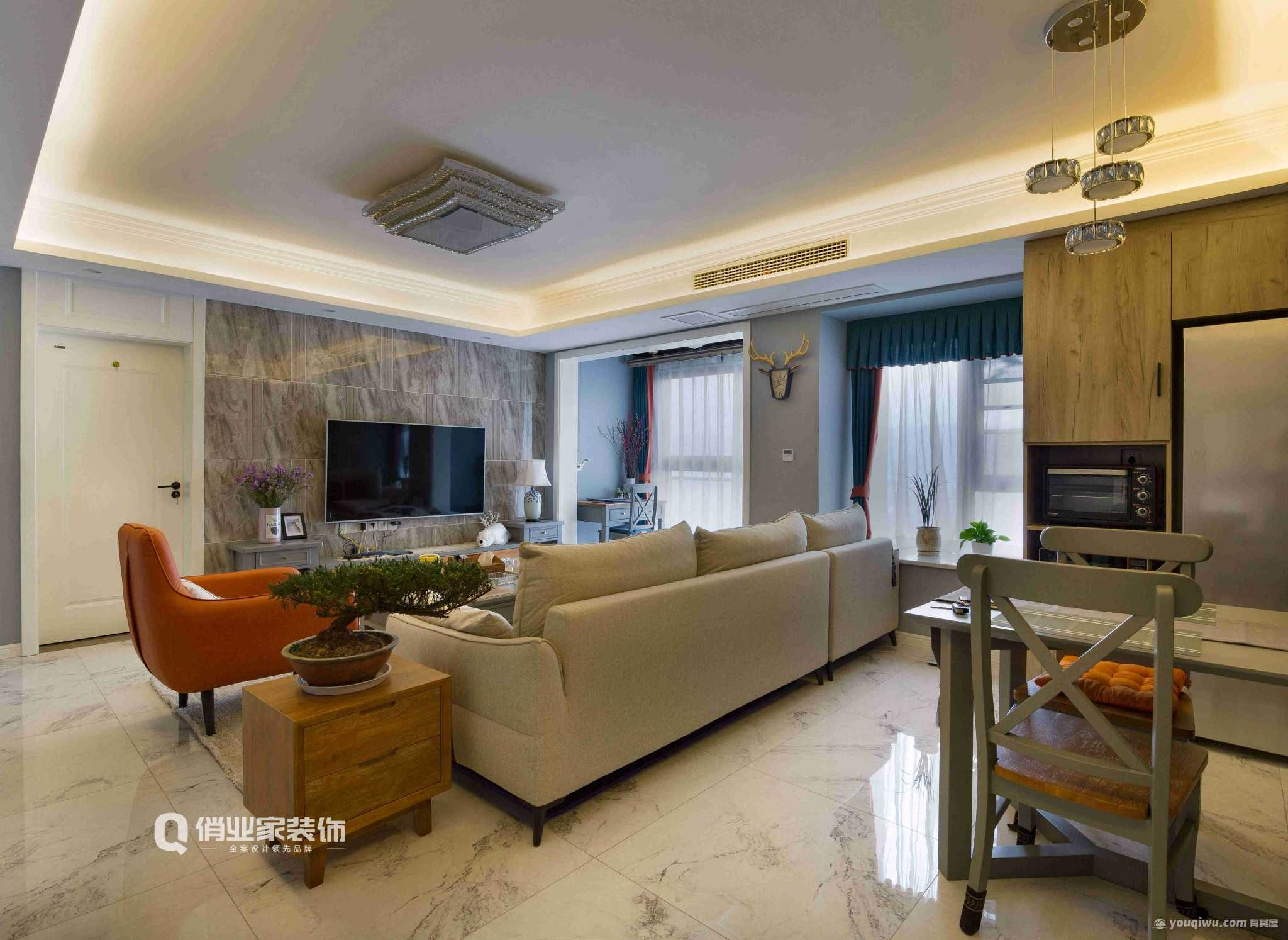 富力湾90平三室现代风格装修效果图