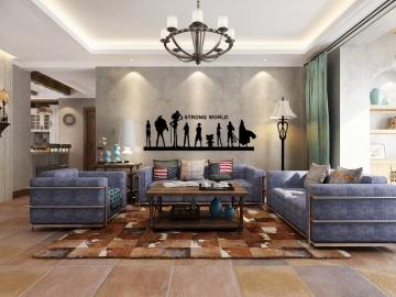 112平三室美式风格装修效果图