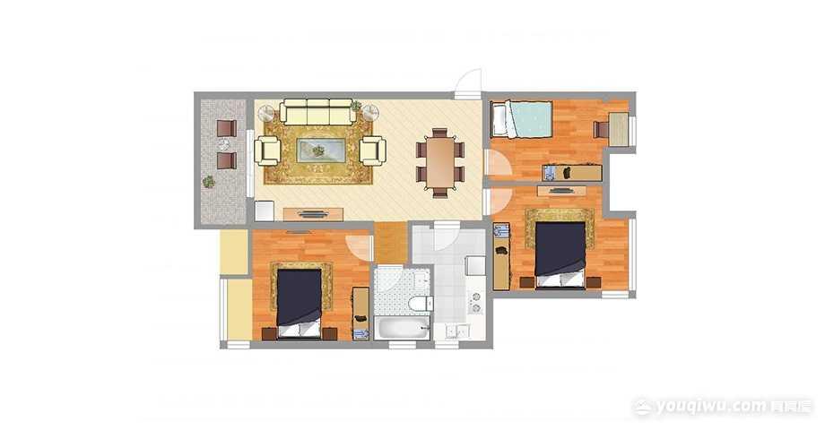 华润幸福里103.00㎡三居室北欧风格装修效果图