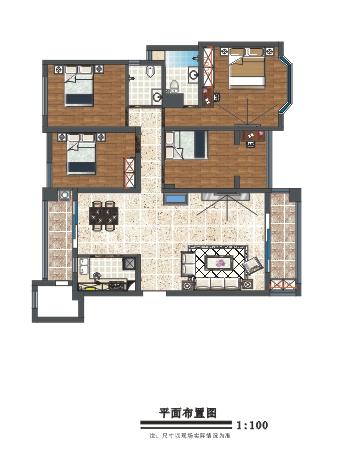 135平四室简欧风格装 ...