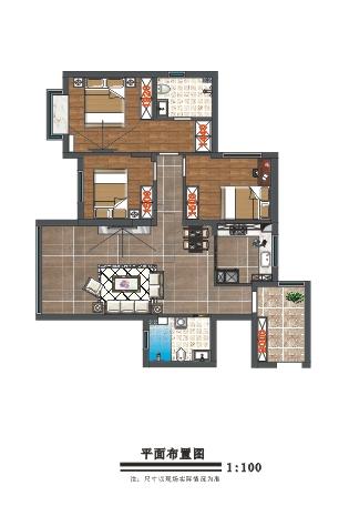 113平三室北欧风格装 ...