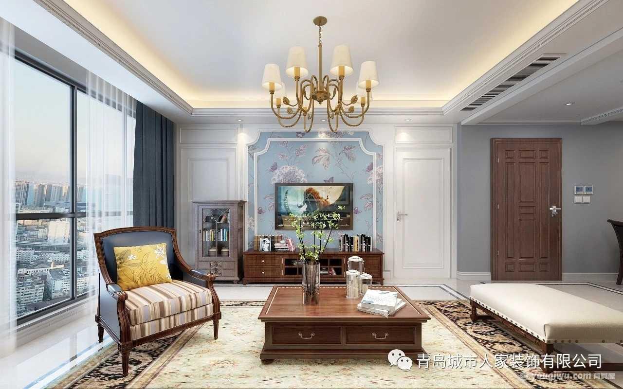 龙湖·春江郦城126平简约美式风格装修效果图