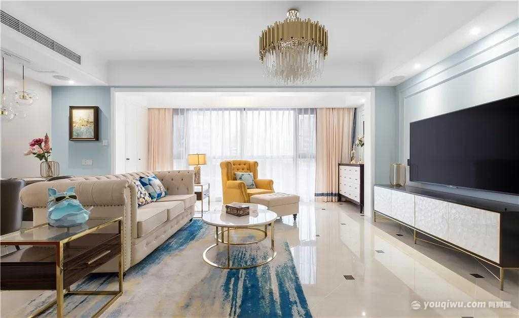 140平三室轻奢美式风格装修效果图
