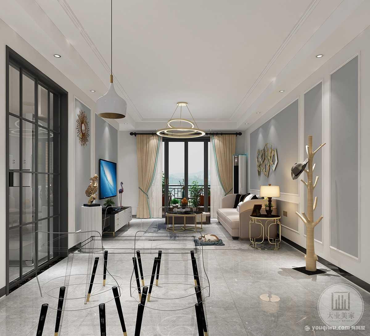 香市一号90m²平层现代轻奢风格装修