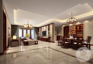 鼎峰尚境156m²平层新中式风格装修案例
