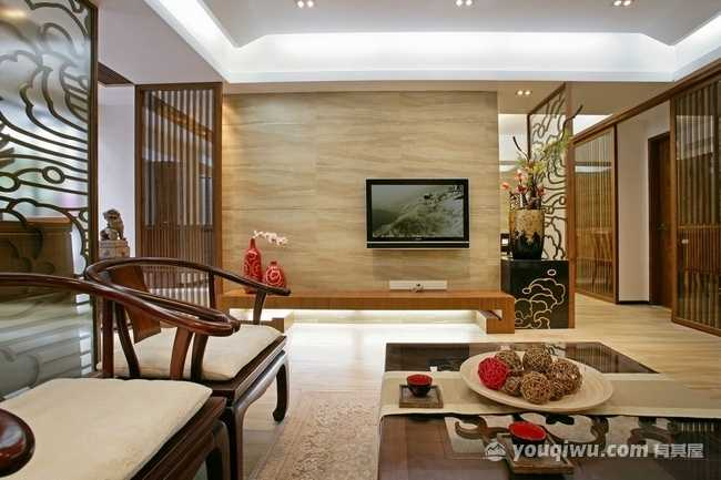 恒大优活城320平别墅中式风格装修案例