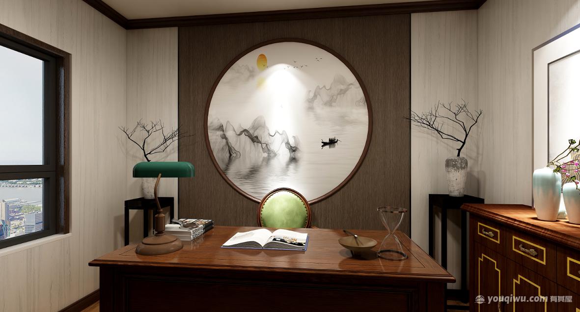 丰泽园典致132平三室新中式风格装修案例
