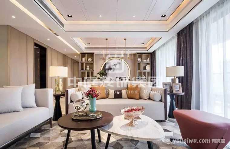 龙光普罗旺斯180平四室新中式风格装修案例