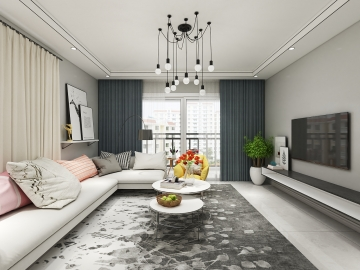 127平米三室現代風格裝修案例