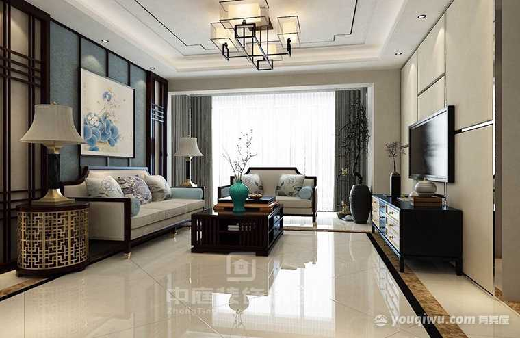 万达茂125平四室新中式风格装修案例