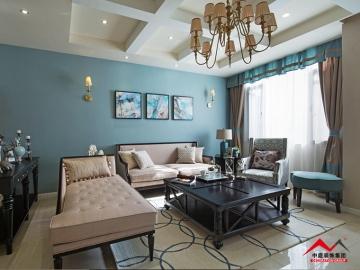 荣和山水美地176平三室美式风格装修案例