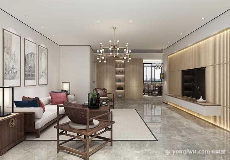 96平新中式三居室装修效果图