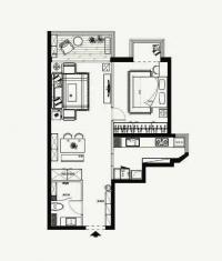 70平小户型一室两厅北欧原木风格装修设计效果图案例欣赏