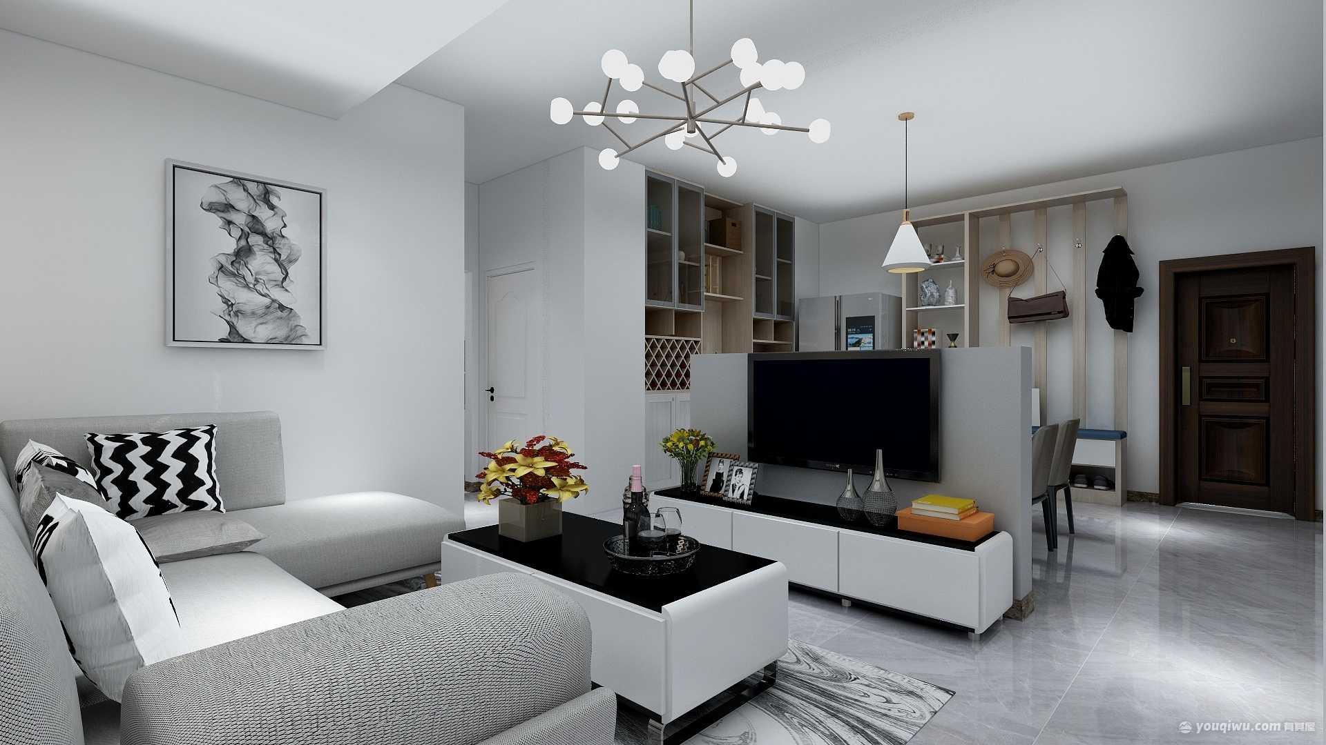 名人风景现代三居室80平9.2万