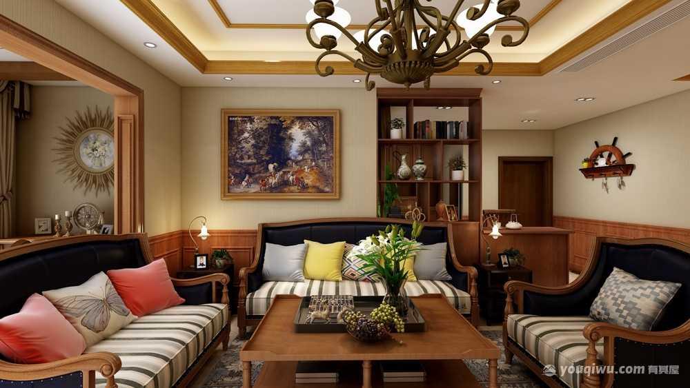 119平米美式风格三居室造价16万