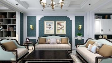101平方美式风格二居室造价15万